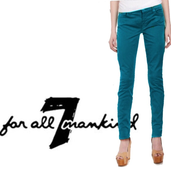 7 For All Mankind Denim - 7 for all Mankind Teal Gwenevere Skinny Jeans